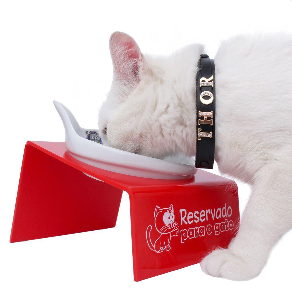 Snack Cat Vermelho - Comedouro em Porcelana para Gatos