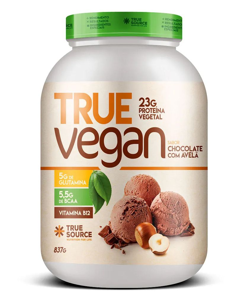True Vegan Chocolate com Avelã Proteína Vegana 837g True Source