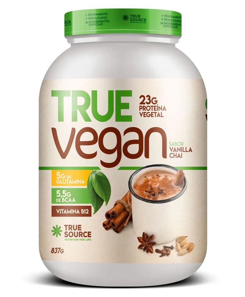 True Vegan Vanilla Chai Proteína Vegana 837g True Source