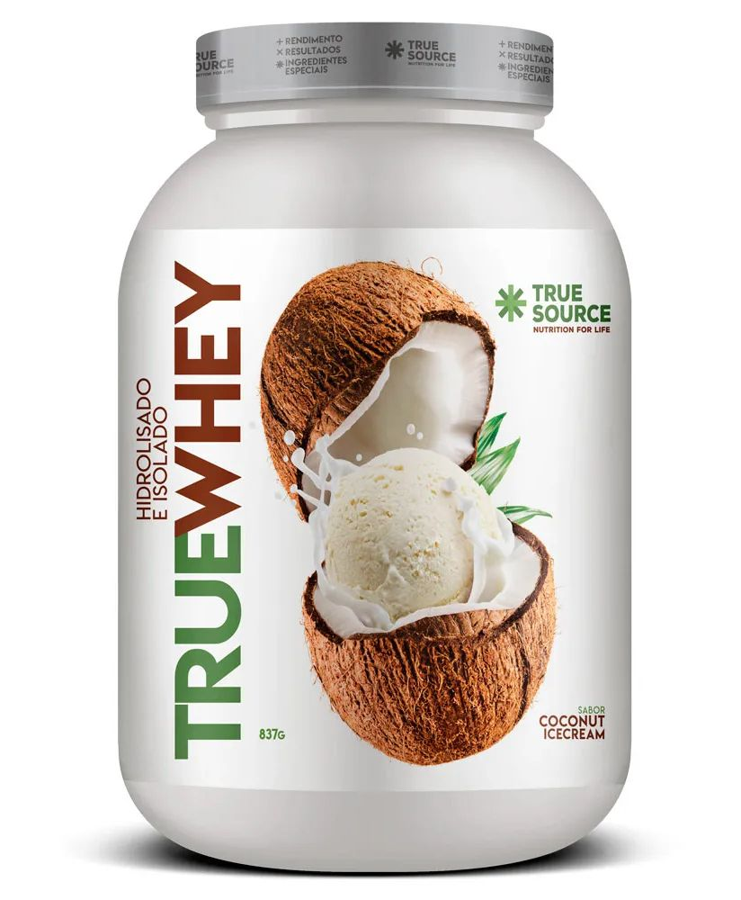 True Whey Coconut Ice Cream Proteína Hidrolisada e Isolada com Colágeno 837g - True Source