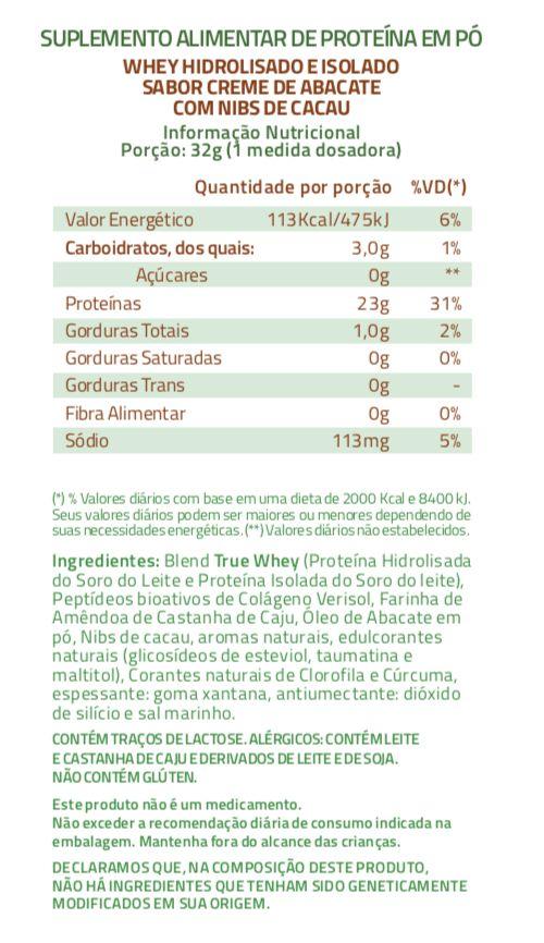 True Whey Creme de Abacate com Nibs de Cacau Proteína Hidrolisada e Isolada 837g - True Source