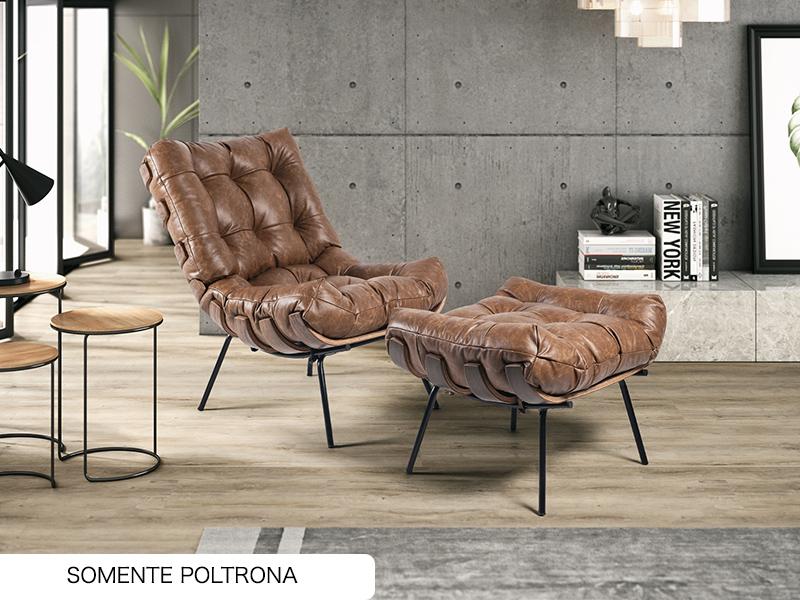 POLTRONA COSTELA 01 LUG COURO CONHAQUE A110