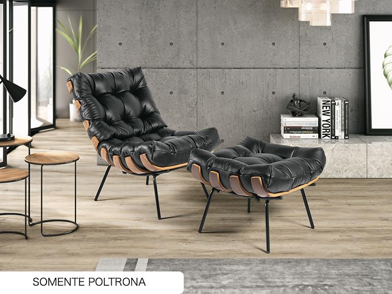 POLTRONA COSTELA 01 LUG COURO PRETO A101