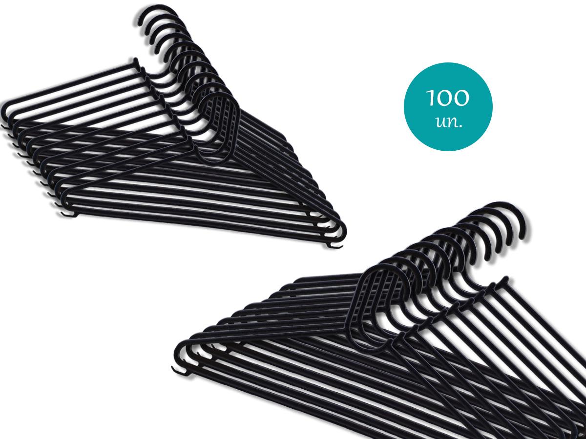 100 Cabides de Plástico Adulto Atacado Reforçado Com Cavas Resistente Para Roupas Pesadas
