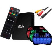 Box Android 8.1 Smartv - Tv 4K - 16gb e 3gb Ram + Cabo RCA/P2 + Controle