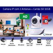 Kit Câmera IP P2P 1.3MP WIFI com 2 Antenas e Cartão de memória 32gb