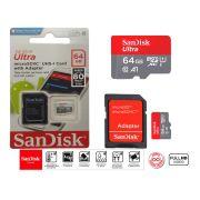 Cartão De Memória Micro Sd Sandisk 64gb Original + Adaptador