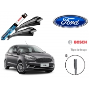 Jogo Palheta Dianteira Limpado Para-brisa Bosch Ford KA  2014 A 2018