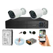 Kit Cftv 2 Câmeras AHD720P com Dvr 4ch 5x1 Full Hd + Hd500gb 100m Cabo e Fonte 5A