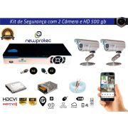 Kit Cftv 2 Câmeras Convencionais com Dvr 4ch 5x1 Full + Hd Hd500gb 100m Cabo Coaxial e Fonte 5A