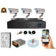 Kit Cftv 3 Câmeras Convencionais com Dvr 4ch 5x1 Full Hd + Hd500gb 100m Cabo Coaxial e Fonte 5A