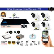Kit Cftv 4 Câmeras AHD720P com Dvr 4ch 5x1 Full Hd + Hd500gb 100m Cabo Coaxial e Fonte 5A