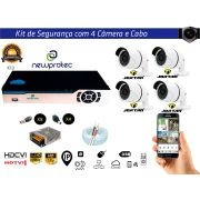 Kit Cftv 4 Câmeras AHD720P com Dvr 4ch 5x1Full Hd + 100m Cabo Coaxial e Fonte 5A