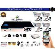 Kit Cftv 4 Câmeras Convencionais com Dvr 4ch 5x1 Full Hd e Hd500gb