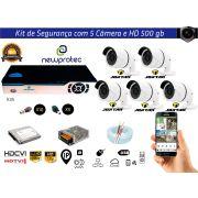 Kit Cftv 5 Câmeras Jortan AHD720P com Dvr 8ch 5x1 Full Hd + Hd500gb 2 Caixa de cabo Coaxial 100m  e Fonte 5A