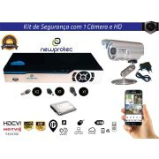 Kit Cftv 1 Câmera Convencional com Dvr 4ch 5x1 Full HD e Hd500gb
