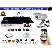 Kit Cftv 1 Câmera Convencional com Dvr 4ch 5x1 Full Hd + Hd 500gb e 100m Cabo Coaxial