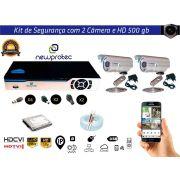 Kit Cftv 2 Câmeras Convencionais com Dvr 4ch 5x1 Full Hd + Hd500gb e 100m Cabo Coaxial