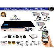 Kit Cftv 3 Câmeras Convencionais com Dvr 4ch 5x1 Full Hd e Hd 500gb