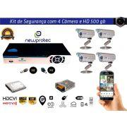 Kit Cftv 4 Câmeras Convencionais com Dvr 4ch 5x1 Full Hd + Hd 500gb e Fonte 5A