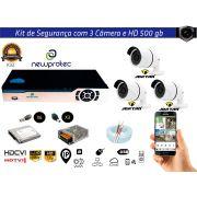 Kit Cftv 3 Câmeras Jortan AHD720P com Dvr 4ch 5x1 Full Hd + Hd500gb 100m Cabo Coaxial e Fonte 5A