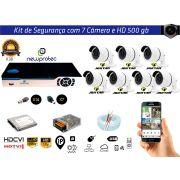 Kit Cftv 7 Câmeras Jortan AHD720P com Dvr 8ch 5x1 Full Hd + Hd 500gb 100m Cabo Coaxial  e Fonte 10A
