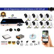 Kit Cftv 8 Câmeras Jortan AHD720P com Dvr 8ch 5x1 Full Hd + Hd500gb 100m Cabo Coaxial e fonte 10A
