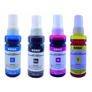 Kit com 4 Refil de Tintas Compatível com Impressoras Epson L355, L365, L375, Ecotank - Kora