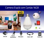 Lampada Câmera Espiã Panorâmica 360º Wifi + Cartão SD 16GB