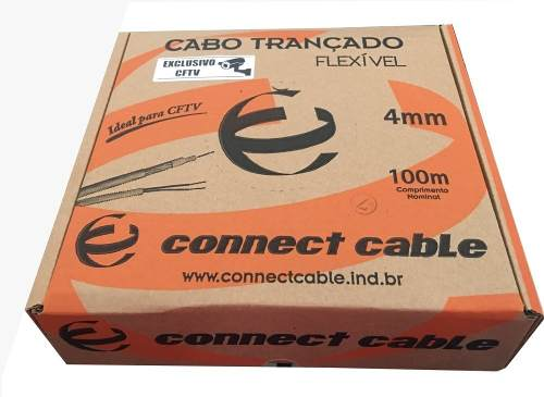 Cabo Coaxial Bipolar 4mm 80% Malha Para Cftv - Rolo 100 Mts