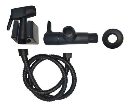 Ducha Higiênica Íntima em Metal Cor Preto Fosco / Black com Flexível 1,2 Metro e Registro 1/4 Volta