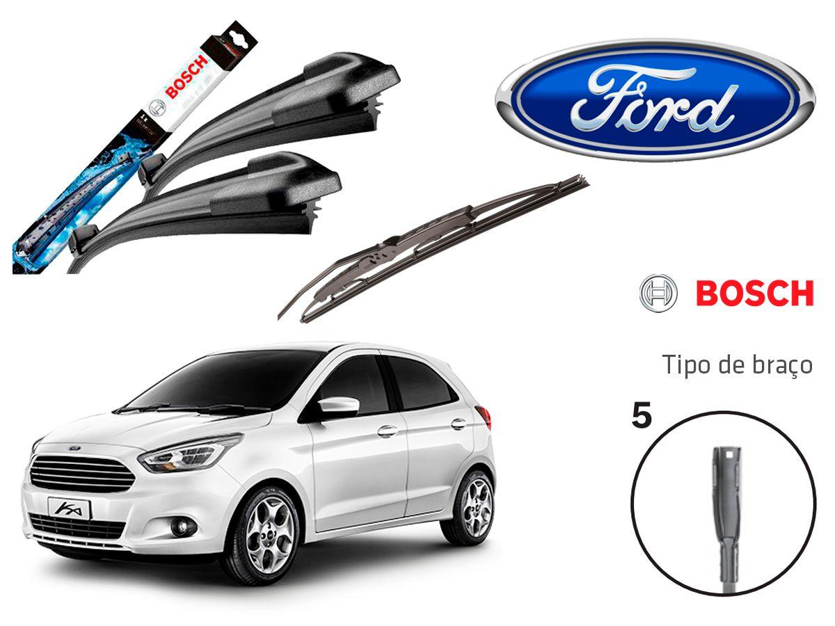 Jogo Palheta Dianteira Limpado Para-brisa e Traseira Bosch Ford KA  2014 a 2018
