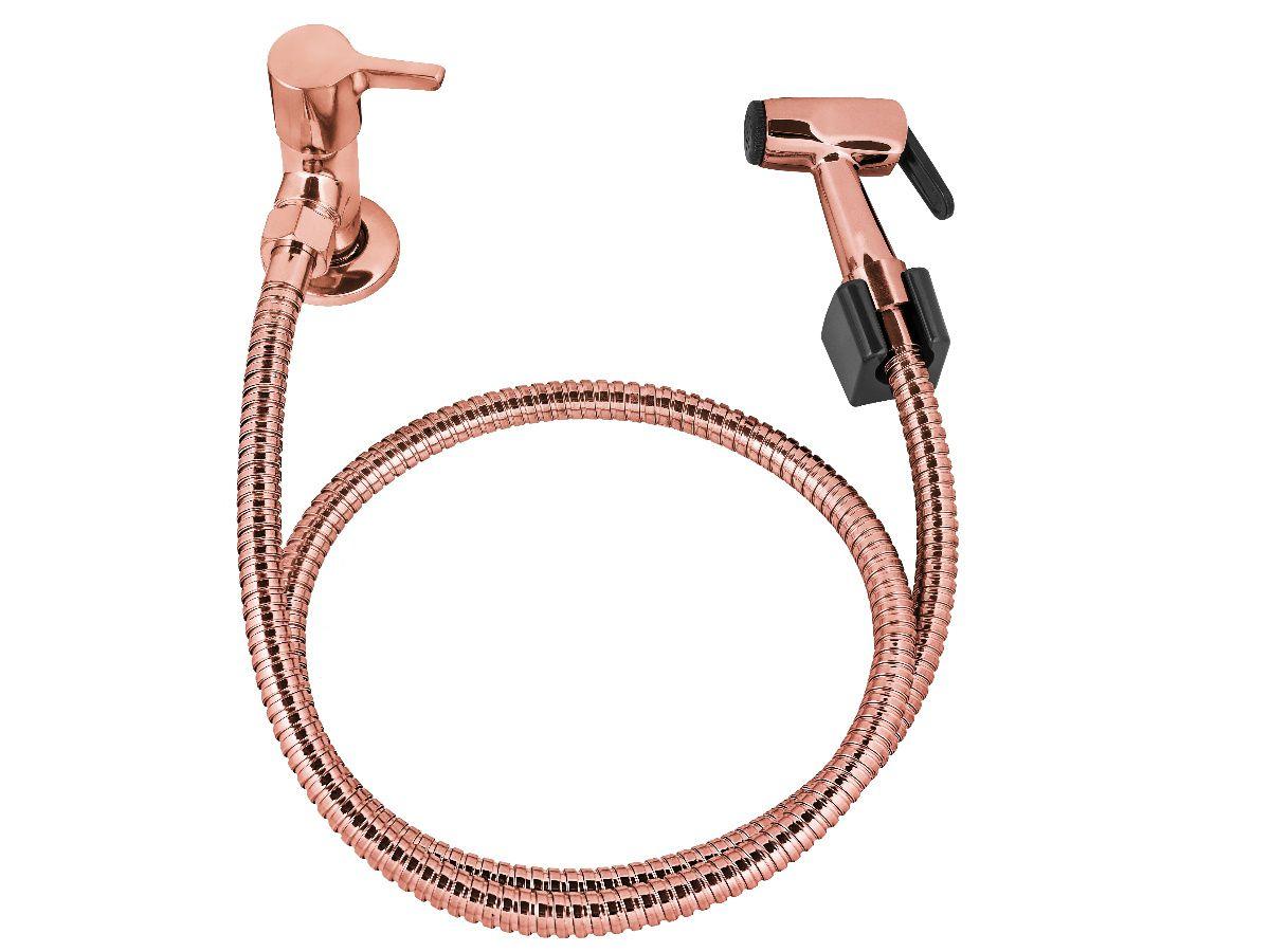 Kit Ducha Higiênica com Válvula de Escoamento para Lavatório Rose Gold Cobre