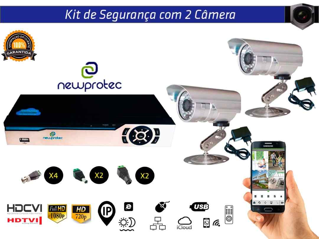Kit Cftv 2 Câmeras Convencionais com Dvr 4ch 5x1 Full Hd