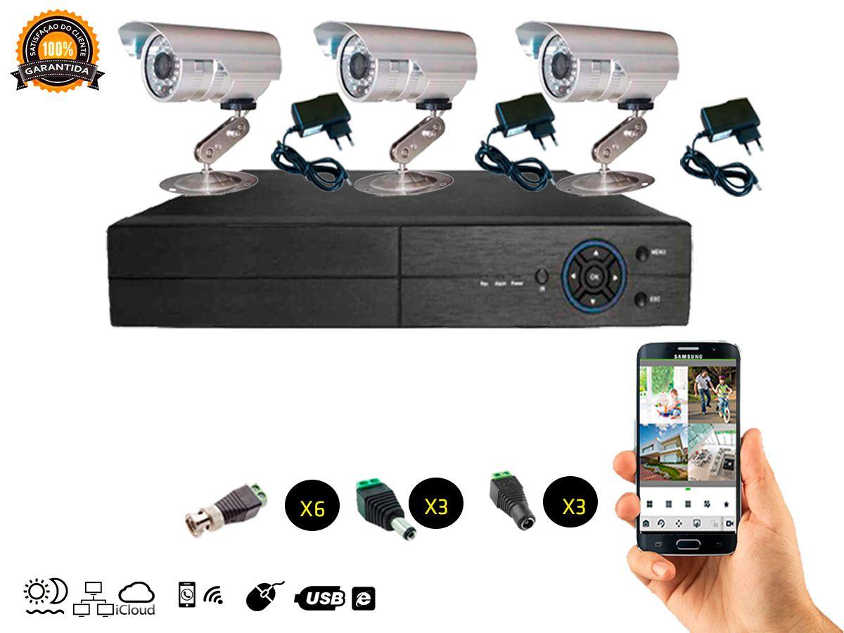 Kit Cftv 3 Câmeras Convencionais com Dvr 4ch 5x1 Full Hd