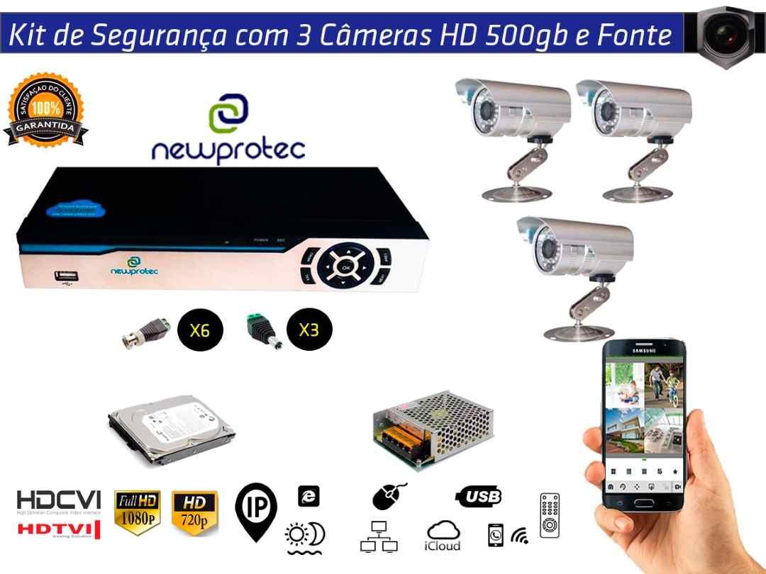Kit Cftv 3 Câmeras Convencionais com Dvr 4ch 5x1 Full Hd + Hd500gb e Fonte 5A