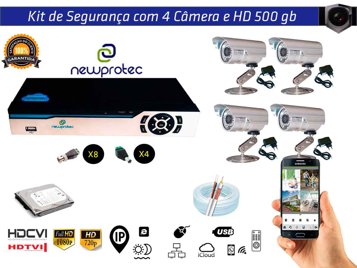 Kit Cftv 4 Câmeras Convencionais com Dvr 4ch 5x1 Full Hd + Hd 500gb e 100m Cabo Coaxial