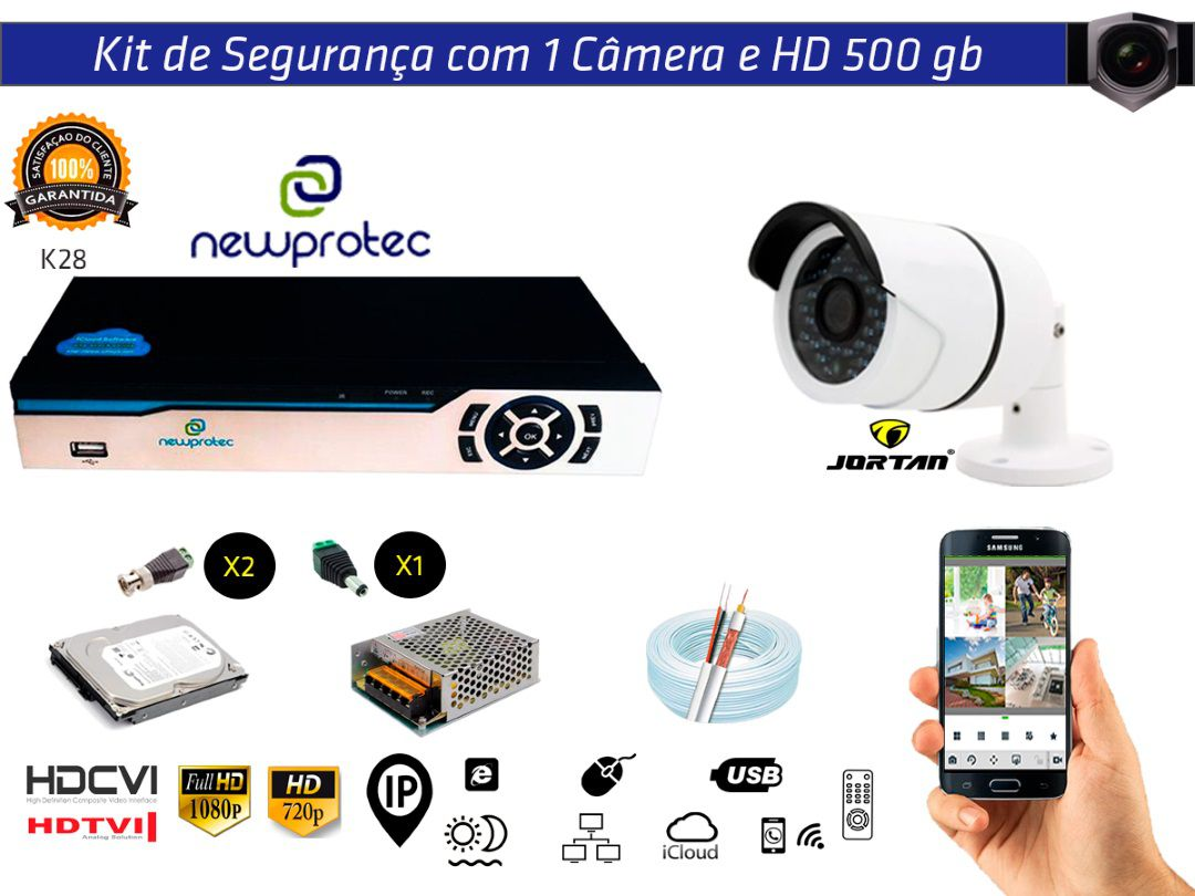 Kit Cftv 1 Câmera Jortan AHD720P com Dvr 4ch 5x1 Full Hd + Hd500gb 100m Cabo Coaxial e Fonte 5A