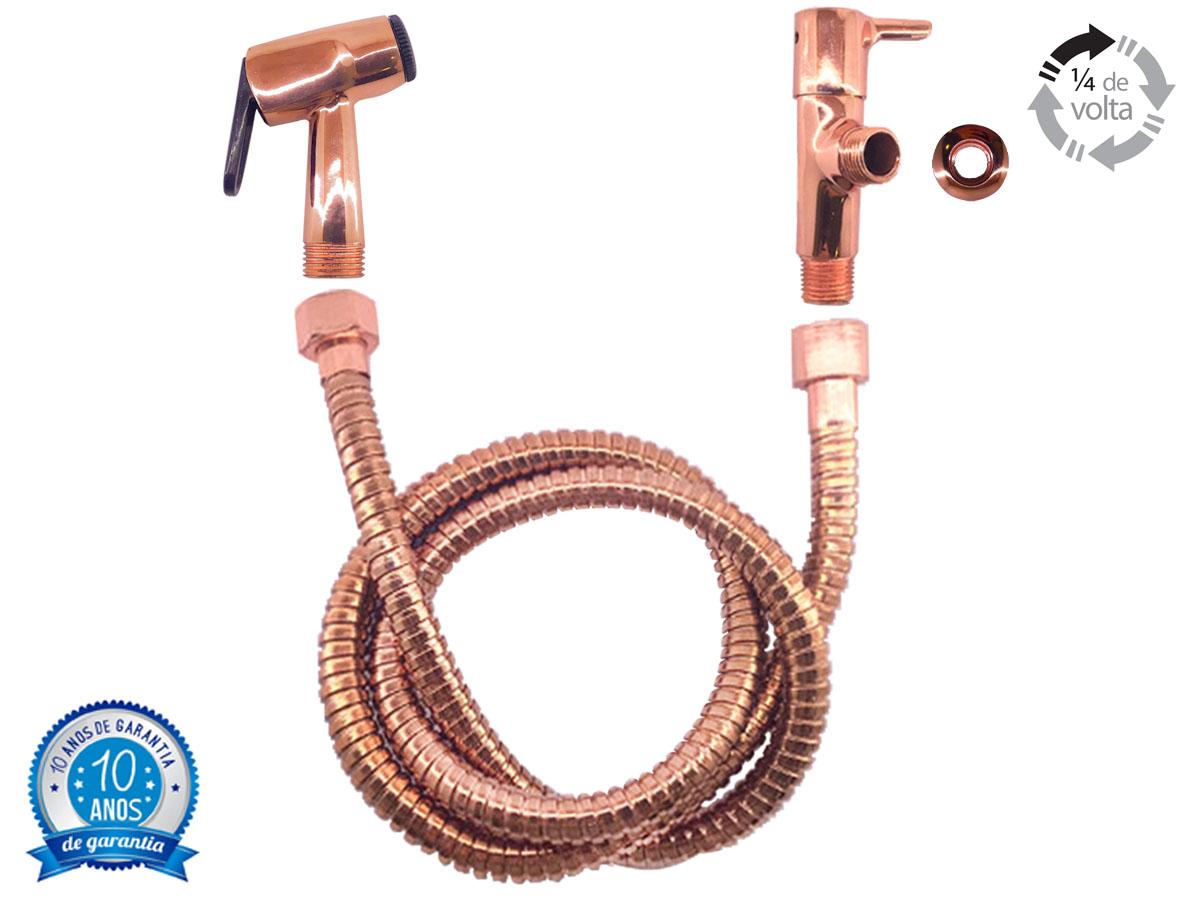 Kit Ducha Higiênica Válvula de Escoamento Lavatório Torneira Rose Gold Cobre