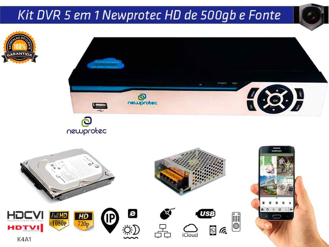 Kit Dvr 8ch 5x1 Newprotec Full Hd NP6504 com Hd 1TB e Fonte 10A