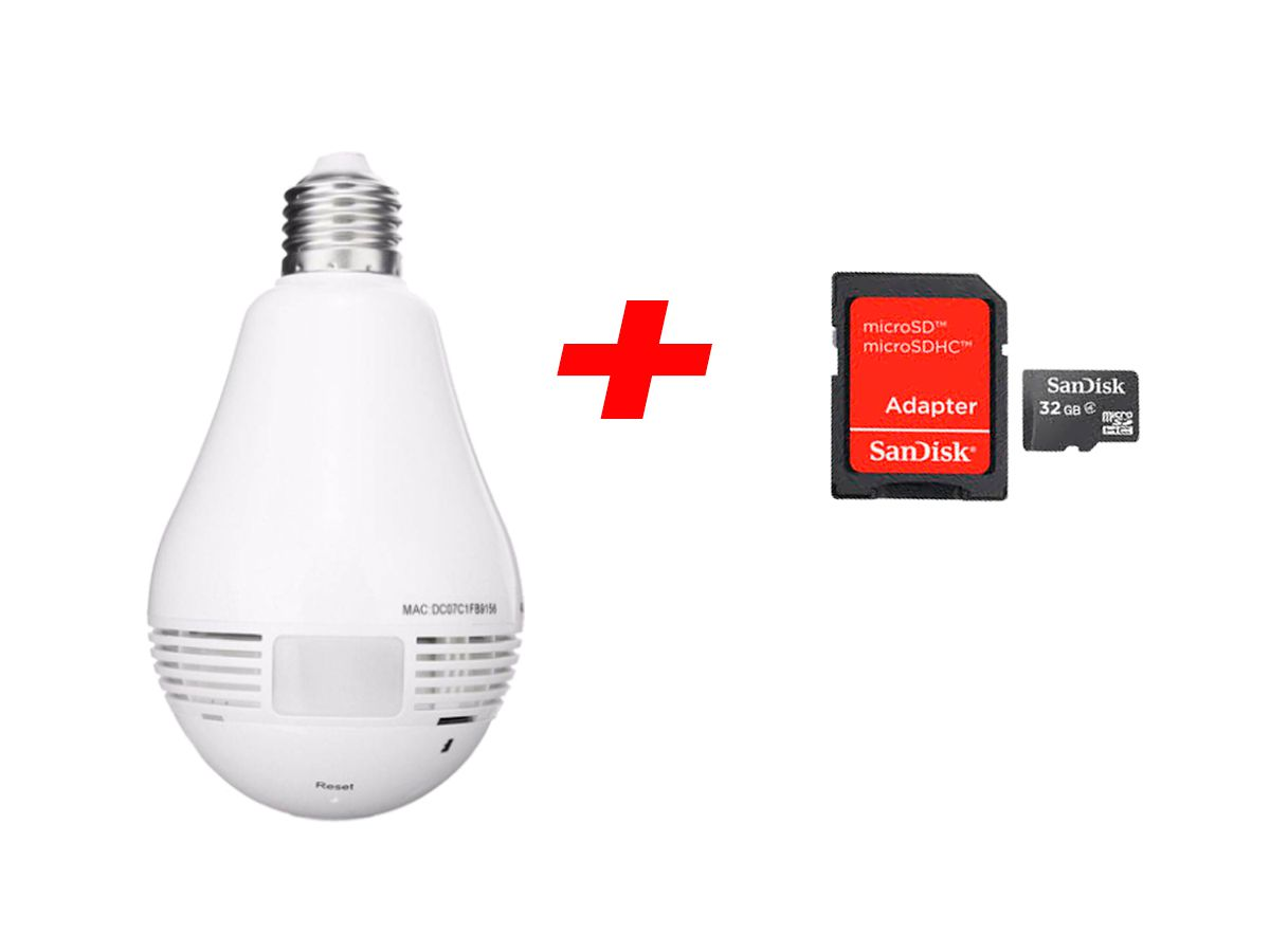 Lampada Câmera Panorâmica 360º Wifi + Cartão SD 64GB