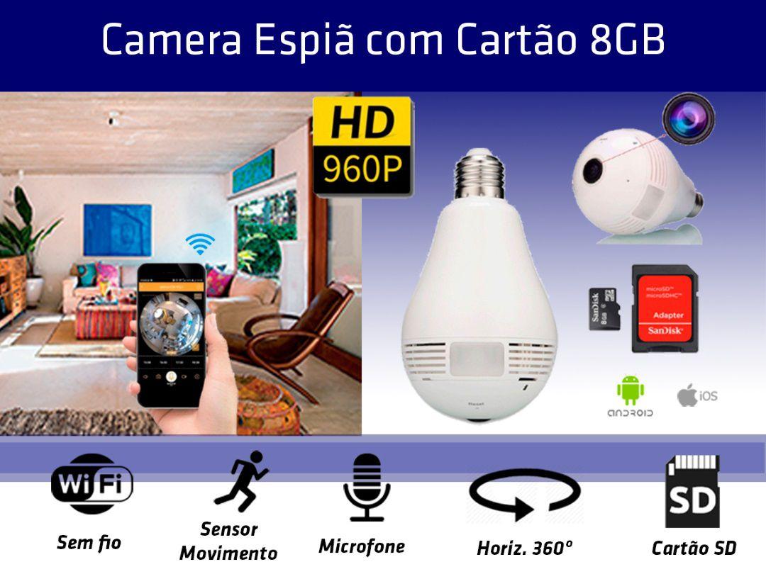 Lampada Câmera Espiã Panorâmica 360º Wifi + Cartão SD 8GB