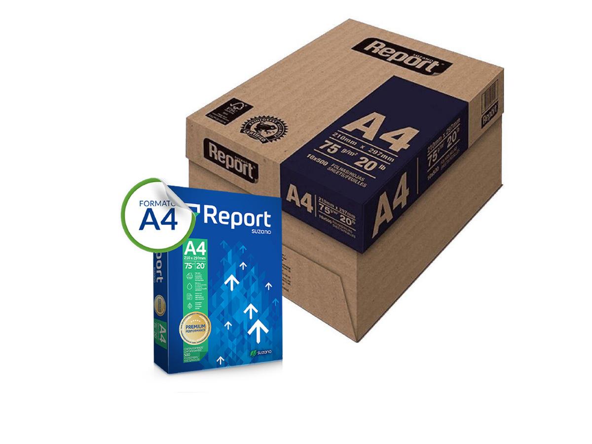 PAPEL SULFITE A4 REPORT PREMIUM 210X297 75GR 2500 FOLHAS
