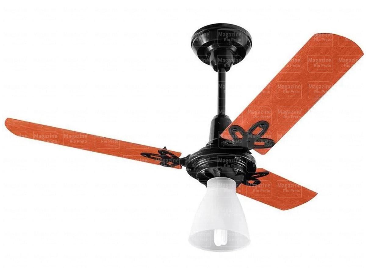 Ventilador de Teto 3 Pás Arge Preto/Mogno Com Controle Protection Branco 110/127v