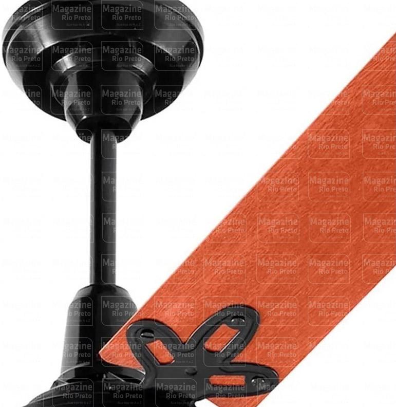 Ventilador de Teto 3 Pás Arge Corpo Preto Pá Mogno 110/127v