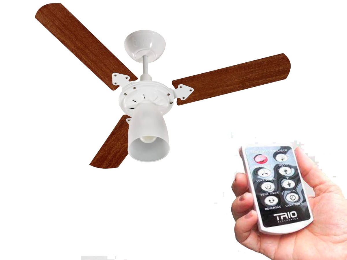 Ventilador De Teto Corpo Branco com controle remoto 110V/127V