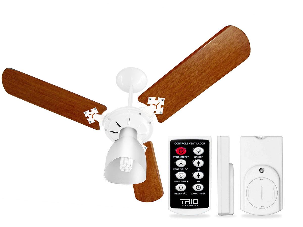 Ventilador de Teto Ventidelta 3 Pás Madeira New Delta Light Corpo Branco 110/127V Com Controle Remoto