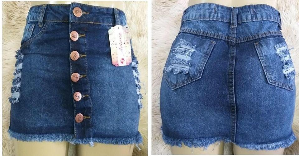 005d6f41226e62 Saias Jeans Feminina Detonada Hot Pant Cintura Alta