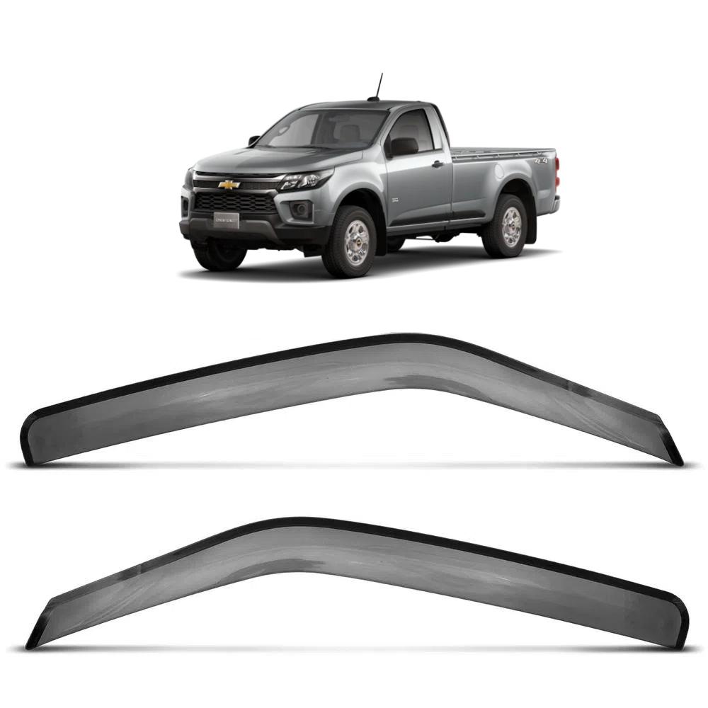 Calha de Chuva Defletor Chevrolet S10 2012 a 2021 02 Portas Cabine Simples Acrílico Preto Fumê TG Poli 23024