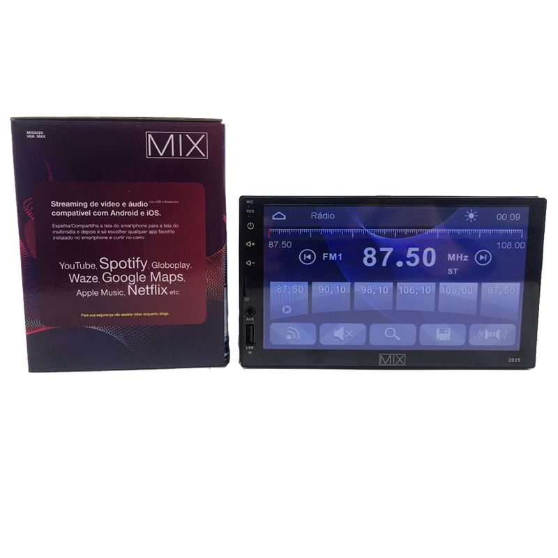 Central Multimídia Bluetooth + Câmera de Ré + Receptor Tv